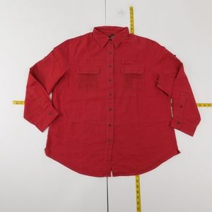 Lauren Ralph Lauren 1X Red Button Down Top Denim D